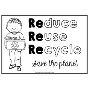 Reduce Reuse Recycle Coloring Pages FREE DOWNLOAD by Tech ...