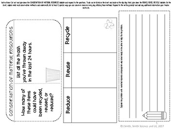 Recycle Reduce Reuse Conservation Reading Comprehension Interactive Notebook