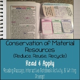Recycle Reduce Reuse Conservation Reading Comprehension In