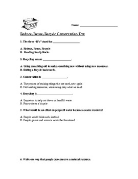 Reduce Reuse Recycle Conservation Test