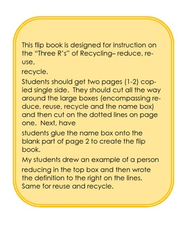 Reduce, Reuse, Recycle Flip Book