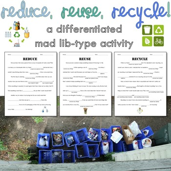 Pollution - Reduce, Reuse, Recycle - Parts of Speech Science Word Game