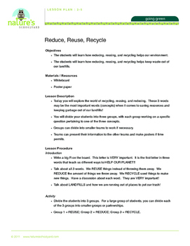 Reduce, Reuse, Recycle Lesson Package 2-5
