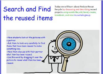 Reduce Reuse Recycle Search and Find Smart Board Activity