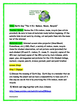 "Earth Day: Reduce, Reuse, Recycle ""The 3 R's to a cleaner Earth"""