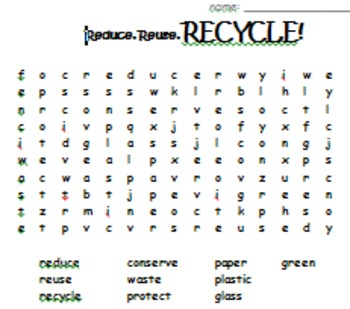 Reduce Reuse Recycle Word Search