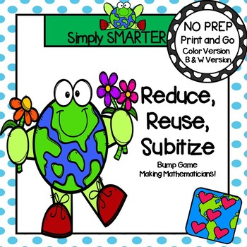Reduce, Reuse, Subitize:  NO PREP Earth Day Themed Number Word Bump Game