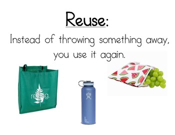 Reduce, Reuse, and Recycle Vocabulary Cards