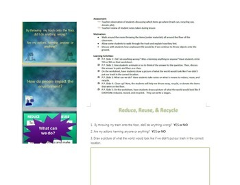Reduce, Reuse, and Recycle with worksheet & P.P.