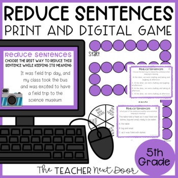 Reduce Sentences Game | Reduce Sentences Centers | Reduce Sentences Activities