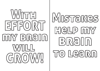 Growth Mindset Colouring Pages Package to Improve Student Confidence and Effort
