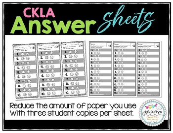 Reduced Size Answer Sheets for CKLA