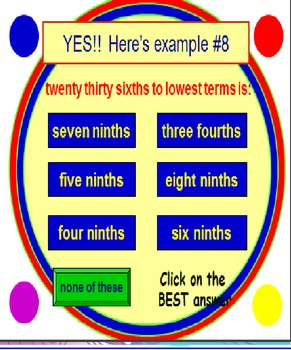 Reducing Fractions FREE PowerPoint PREVIEW Fun Quiz