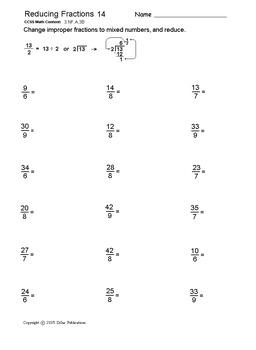 Reducing, Simplifying Fractions: Printable Worksheets