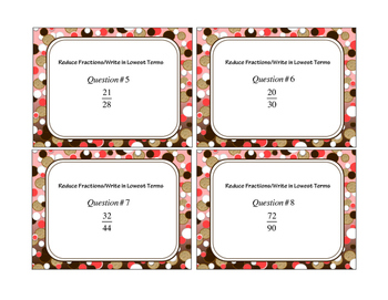 Reducing Fractions 20 Task Cards
