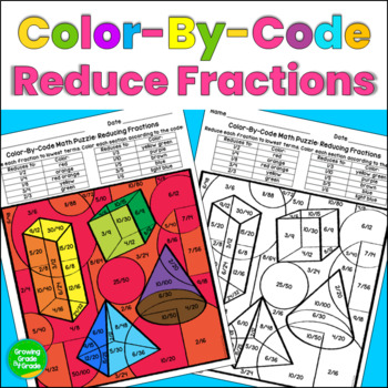 Reducing Fractions Color By Code Math Puzzle
