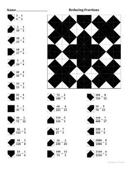 Reducing Fractions Color Worksheet
