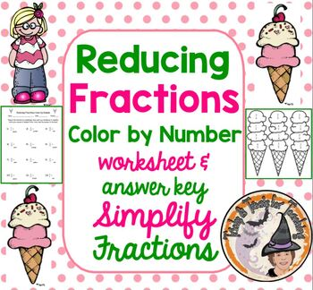 Reducing Fractions Color by Number Simplifying Fractions Simplify w/ Answer KEY