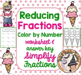 Reducing Fractions Color by Number Simplifying Fractions S