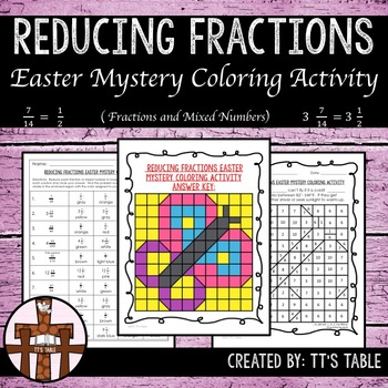 Reducing Fractions Easter Mystery Coloring Activity