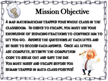 Reducing Fractions Escape Room Math Activity