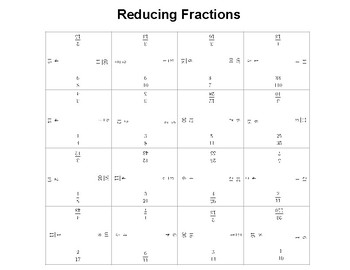 Reducing Fractions Fun Square Puzzle