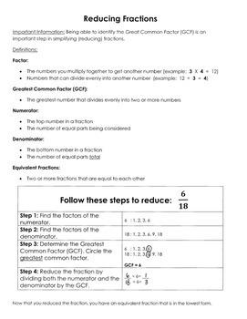 Reducing Fractions (GCF)