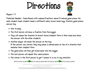 Reducing Fractions Game: Math Game for 4th Grade (possibly 3rd & 5th): Center