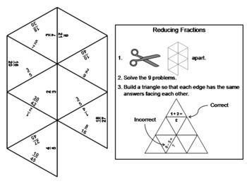 Reducing Fractions Game: Math Tarsia Puzzle