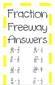 Math Simplest Form Fraction Activity