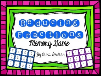 Reducing Fractions Memory Game *FREEBIE*