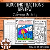 Reducing Fractions Review Coloring Activity