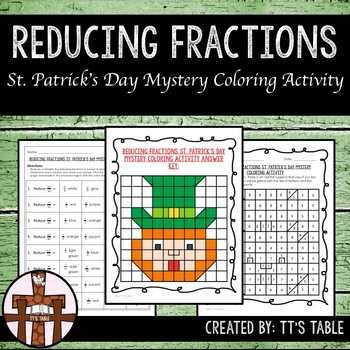 Reducing Fractions St. Patrick's Day Mystery Coloring Activity
