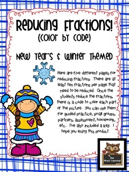 Reducing Fractions:  Winter and New Year's Themed Color by Code Fun!