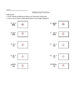 Reducing Fractions Worksheet Generator