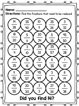 Reducing Fractions Practice Pages
