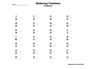 Reducing Fractions To Lowest Terms  Selfgenerating Worksheet By  Reducing Fractions To Lowest Terms  Selfgenerating Worksheet By Miss  Dejong