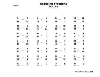 Reducing Fractions to Lowest Terms - Self-generating worksheet