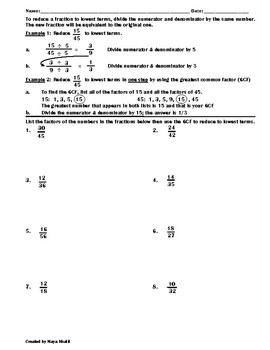 Reducing Fractions To Lowest Terms Worksheet  Teaching The Lesson Originaljpg