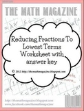 Reducing Fractions to Lowest Terms Worksheet with Answer Key (FREE)