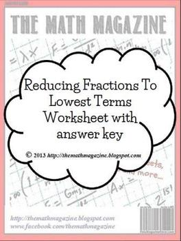 Reducing Fractions to Lowest Terms Worksheet with Answer K