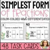 Reducing Fractions to Simplest Form Task Cards