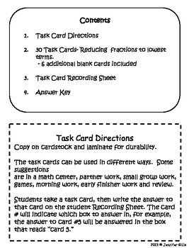 Reducing Fractions to lowest terms TASK CARDS