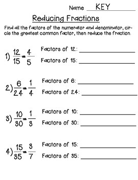 Reducing Fractions using Greatest Common factor