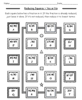Reducing and Equivalent Fractions Squares