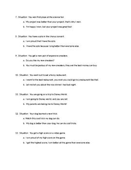 Reducing bragging language worksheet