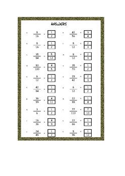 reducing  simplifying fractions worksheets  questions  tpt reducing  simplifying fractions worksheets  questions