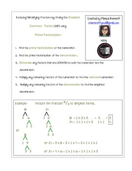 Reducing/Simplifying fractions using Prime Factorization to find GCF