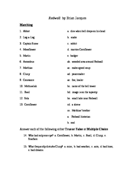 Redwall Reading Check Test/Quiz