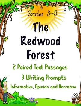 Redwood Forest~Paired Text with 3 Text Based Writing Promp